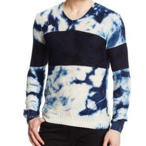 Scotch and Soda Stripe Tie-Dye V Neck Sweater